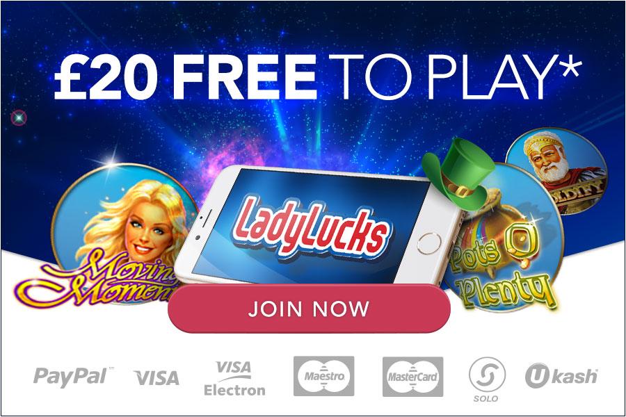 ladylucks £20 no deposit slots bonus