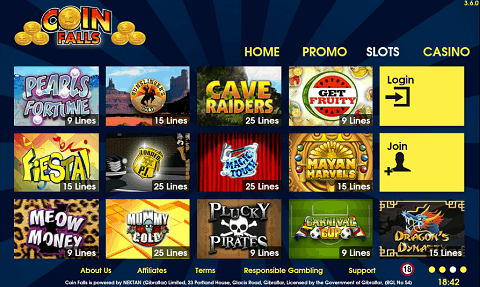 coinfalls casino online real money